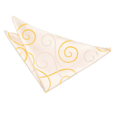 New Dqt Scroll Mens Handkerchief / Hanky - Gold