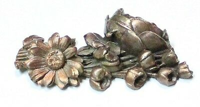 Very interesting old roses flowers bronze and shell on flower paperweight 8 x 5