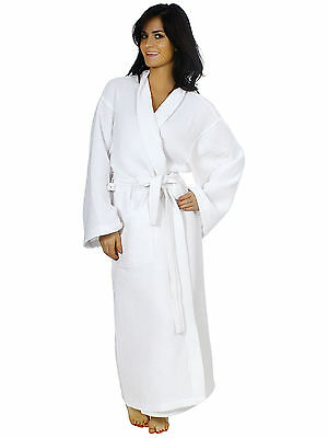 Unisex Mens Ladies Soft  Dress Robe White Hotel Spa Cotton Bathrobe Sleepwear