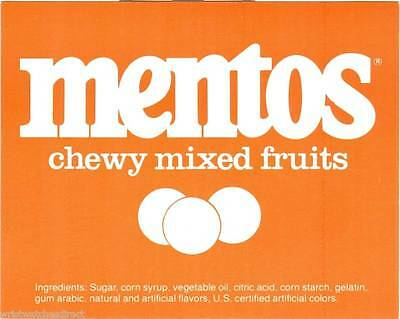Vintage Mentos Mixed Fruits Gum Ball Machine Vending Display Card 1970s NOS New