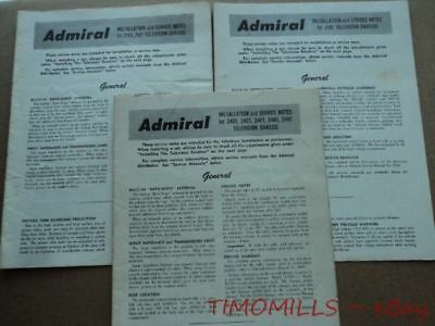 c.1950 Admiral Corporation Television Chassis Installation Service Notes Manual