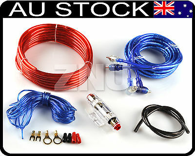 Car 8 Guage Audio Subwoofer Sub Amplifier AMP RCA Wiring Kit Power Cable 1500W