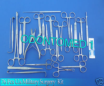 76 Pc Us Military Surgery Surgical Veterinary Dental Instruments Kit