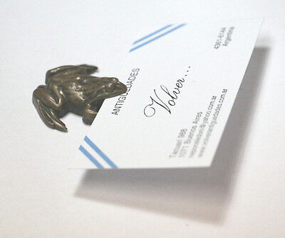 Rare and funny old brass frog menu card holder 4 cm x 4 cm