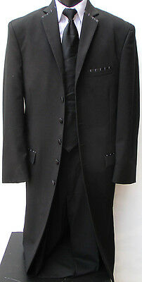 Mens Black Ecko Six Button LONG Tuxedo Coat Frock Theater Costume Steampunk 40R