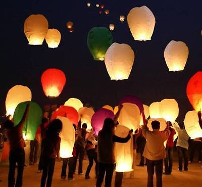50 Paper Chinese Wish Lanterns Sky Fly Candle Lamp Party Wedding US Seller