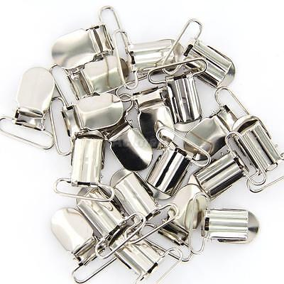 20pcs 25mm Silver Metal Pacifier Suspender Clips Holders Ribbon/Project Craft