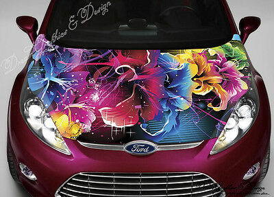 Flowers Hood Full Color Graphics Wrap Decal Vinyl Sticker Fit any Car #021