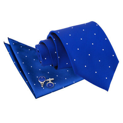DQT Woven Pin Dot Dotted Royal Blue Mens Classic Skinny Tie Hanky Cufflinks Set