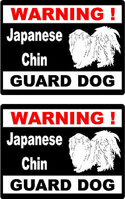 2 warning Japanese Chin guard dog car bumper home window vinyl decals stickers