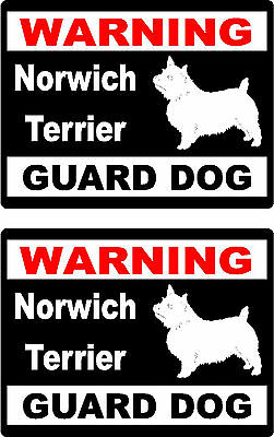 2 warning Norwich Terrier guard dog bumper home car window vinyl stickers
