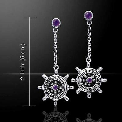 Gorgeous finely crafted Celtic Knots Silver SHIP'S WHEEL Earrings - with Gemston