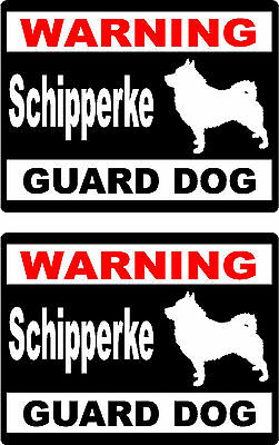 2 warning Schipperke guard dog breed bumper home car window vinyl stickers