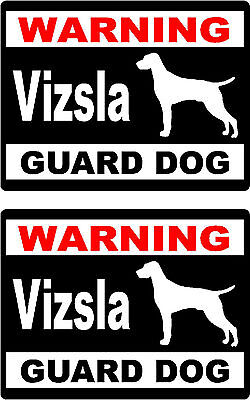 2 warning Vizsla guard dog breed car bumper home window vinyl stickers