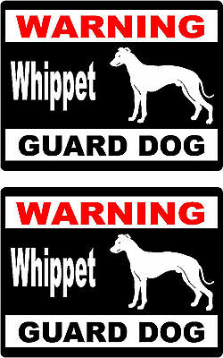 2 warning Whippet guard dog breed car bumper home window vinyl stickers