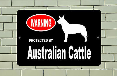 Warning Protected by Australian Cattle dog breed metal aluminum sign