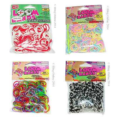 **Bogof** Loom Bands Kits Refills England Football Glow Scented Stripes Glitter