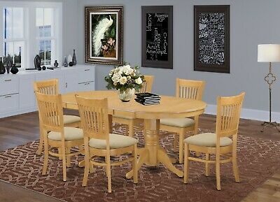 7-PC OVAL DINETTE DINING SET TABLE w/ 6 MICROFIBER PADDED CHAIRS IN LIGHT OAK