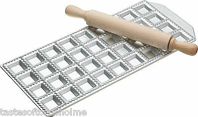 Genuine Imperia Italian Pasta 36 Square Hole Ravioli Tray & Wooden Rolling Pin