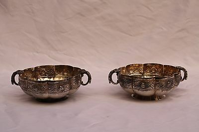 Magnificent Pair Of 1900 Sanborns Mexican Sterling Silver Hand Made Dish's