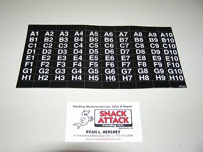 (Ap) Automatic Products Snack Machine Selection Label Sheet 4600, 6600, 7600,113