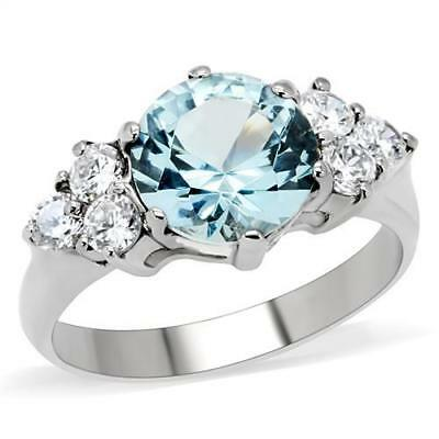 3ct ROUND SOLITAIRE ENGAGEMENT RUSSIAN SIM BLUE DIAMOND WEDDING RING TK179