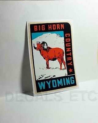 WYOMING Big Horn Country Vintage Style Travel Decal, Vinyl Sticker,Luggage Label