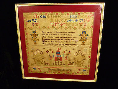 19th CENTURY CHILD'S SAMPLER BY EMMA BULLOCK DATED 1853