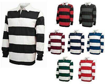 """Men's Classic Style, Casual, Cotton Jersey Knit Rugby Shirt, 4"""" Stripe, S-3Xl"""