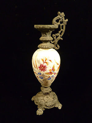Hand Painted Porcelain & Spelter Or Cast Iron Ewer W/ Birds & Flowers - C. 1840