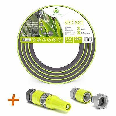"1/2"" 20M-3 Layer Reinforced Garden Hose Pipe Spray Watering Nozzle Set-Ecolight"