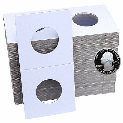 100 Quarter Size 2X2 Cardboard Staple Type Coin Flips Safe for Coins