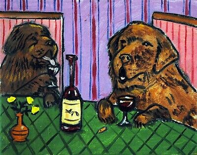 NEWFOUNDLAND DRINKING at the wine bar picture giclee DOG art print 11x14 schmetz