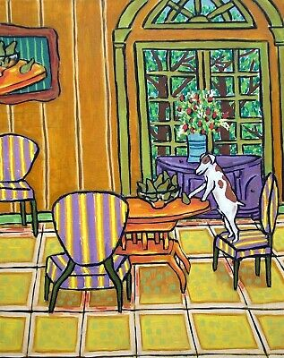 jack russell terrier dog signed art print animals impressionism gift new 8x10