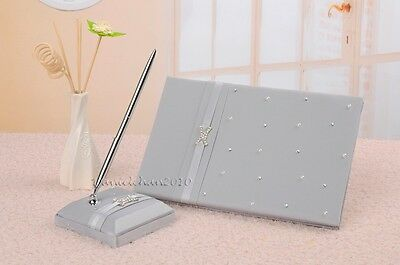Silver Satin Crystal Faux Pearl Wedding Guest Book + Pen Set Wedding Favors GB58