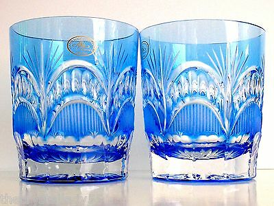 ajka peep cleanthe azure blue cased cut to clear crystal whiskey rocks Set of 2