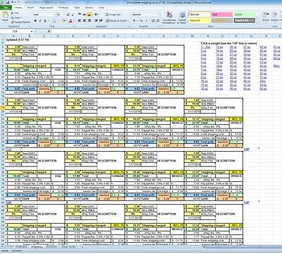 2016 Usps Free Shipping Ebay Sales Profit Paypal Fees Spreadsheet Excel Business