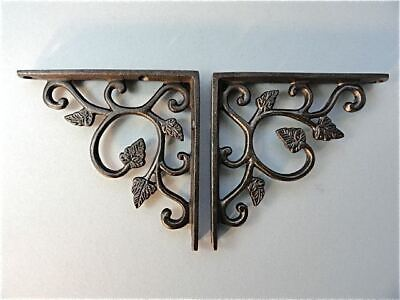 A Pair Of Small Cast Iron Leaf Style Antique Style Shelf Brackets Wall Bracket