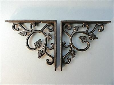 A Pair Of Small Cast Iron Leaf Antique Style Shelf Brackets Wall Bracket