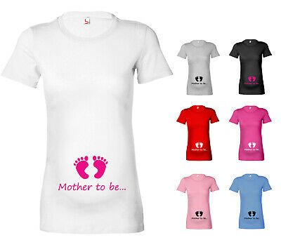 Mother To Be... (Baby Feet) Funny Cute Womens T-Shirt Tshirt Maternity Pregnant