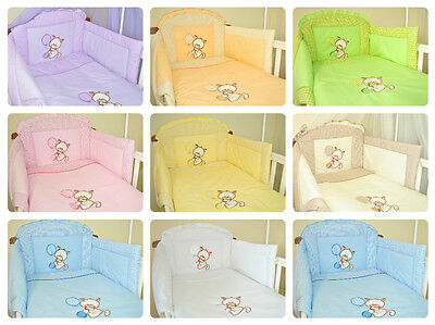 3 Pce Embroidered Baby Bedding Bumper Set For Cot/ Kitty with balloon
