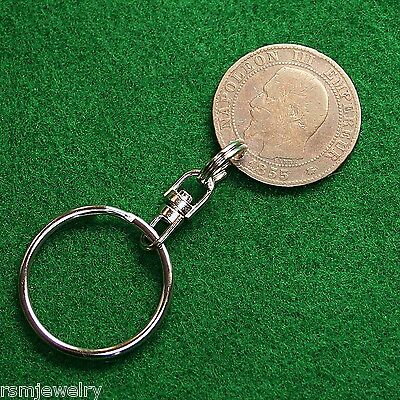 Key Chain Ring, 2nd French Empire Napoleon III France 5c Bronze Coin Swivel Type