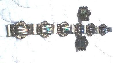 """Victorian Vintage Marked """"Silver Mexico"""" & Abalone Bracelet Screw Back Earrings"""