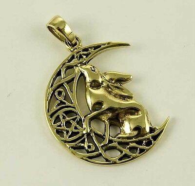 Bronze Moon Gazing  Hare & pentagram pendant By Lisa Parker Pagan, Wicca, Goth