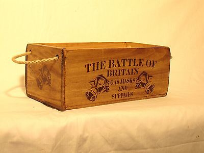 Vintage antiqued wooden box, crate, trug, Battle of Britain