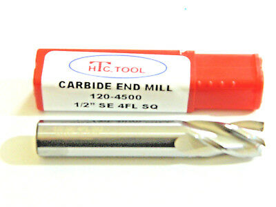 "1/2 Solid Carbide 4 Flute End Mill SE SQ 3"" Length Endmill USA 120-4500, H11"
