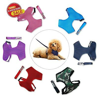ANY SIZE & COLOR - SOFT MESH DOG PUPPY HARNESS Leash included