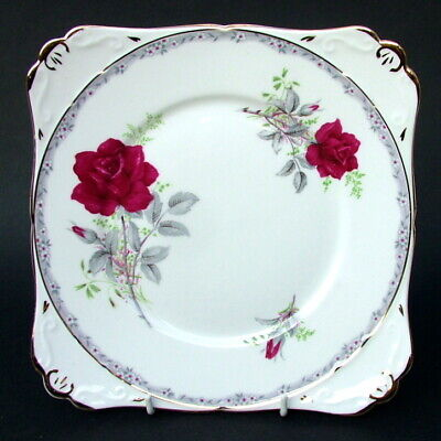Royal Stafford Roses to Remember Red Cake Gateau or Sandwich Plate 21cm in VGC