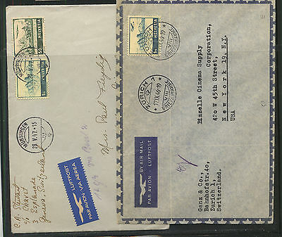 Switzerland   2  airmal  covers  to   US   1946,  1947       MS0205