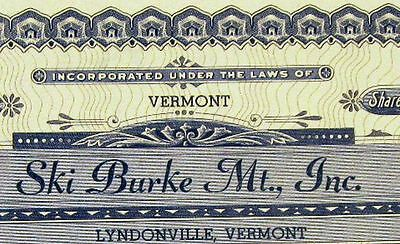 1953 Ski Burke Mt., Vermont 2 shares stock certificate signed by Akley & Kerr
